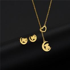 Mode Mond Hohlbär Titan Stahl Ohrringe Halskette Set Großhandel NHAC346033