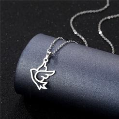 Mode glänzende Frieden Taube Titan Stahlkette Großhandel NHAC346034