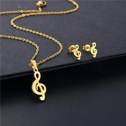 Mode Musik Symbol Titan Stahl Ohrringe Halskette Set Großhandel NHAC346036