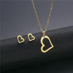 Mode herzförmige O-Kette Titan Stahl Ohrringe Halskette Set Großhandel NHAC346038