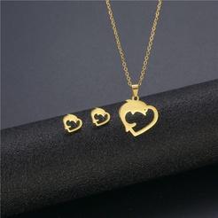 Mode Delphin Herzform Titan Stahl Ohrringe Halskette Set Großhandel NHAC346039
