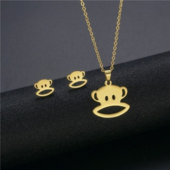 Mode hohle Affe Titan Stahl Ohrringe Halskette Set Großhandel NHAC346026