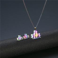 Mode bunte geometrische Titan Stahl Ohrringe Halskette Set Großhandel NHAC346042