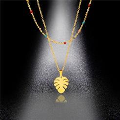 Mode kreative Doppelschicht tropfen Ölblatt Titan Stahlkette Großhandel NHAC346044