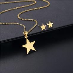 Fashion Star Titan Stahl Ohrringe Halskette Set Großhandel NHAC346047