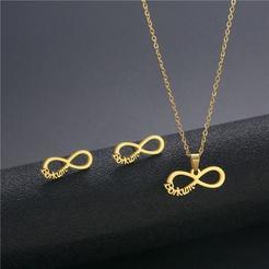 Mode 8 Zeichen Titan Stahl Ohrringe Halskette Set Großhandel NHAC346048