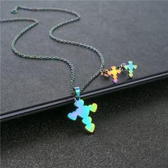 Mode Herzform Kreuz bunte Titan Stahl Ohrringe Halskette Set Großhandel NHAC346050