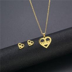 Mode herzförmige Krone Titan Stahl Ohrringe Halskette Set Großhandel NHAC346051