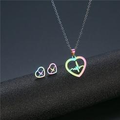 Mode Elektrokardiogramm Titan Stahl Ohrringe Halskette Set Großhandel NHAC346053