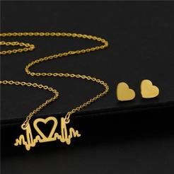 Mode Herzschlag EKG Titan Stahl Ohrringe Halskette Set Großhandel NHAC346054
