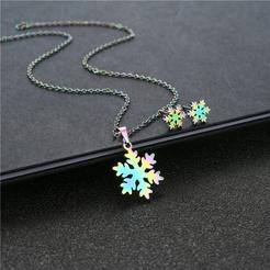 Mode Schneeflocke Titan Stahl Ohrringe Halskette Set Großhandel NHAC346055