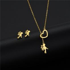 Mode niedlichen Elfen Titan Stahl Ohrringe Halskette Set Großhandel NHAC346056