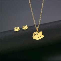 Mode niedlichen Katze Titan Stahl Ohrringe Halskette Set Großhandel NHAC346057