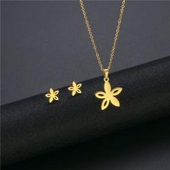 Mode Blume Titan Stahl Ohrringe Halskette Set Großhandel NHAC346058