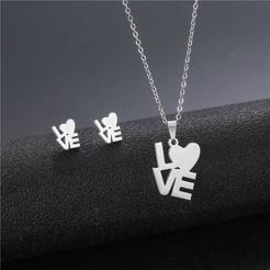 Mode hohle herzförmige Titan Stahl Ohrringe Halskette Set Großhandel NHAC346059