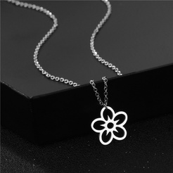 Mode Blume Kreuzkette Titan Stahl Halskette Großhandel NHAC346060