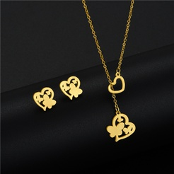 Mode herzförmige Schmetterling Titan Stahl Ohrringe Halskette Set Großhandel NHAC346061