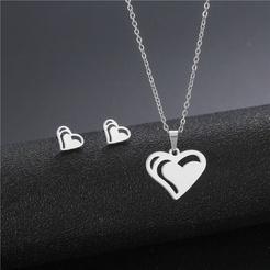 Mode glänzende herzförmige Edelstahl Halskette Ohrringe Großhandel NHAC346063