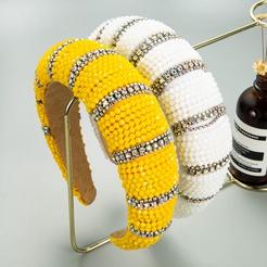Mode handgenähten Kristall verbreitert verdickten Schwamm Stirnband Großhandel NHLN346071
