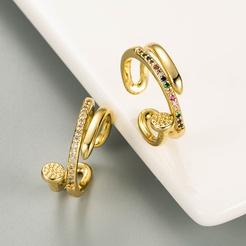 Mode geometrische mehrschichtige Kupfer Zirkon Öffnung verstellbaren Ring NHLN346064