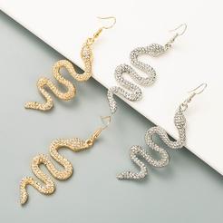 Diamantbesetzte schlangenförmige Ohrringe aus Modelegierung NHLN346066