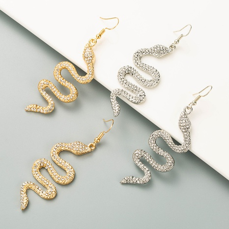 wholesale fashion alloy diamond-studded snake-shaped earrings  NHLN346066's discount tags