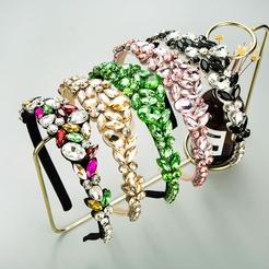 Barock eingelegte Glasdiamanten dünnkantiges Stirnband in Kronenform NHLN346072