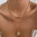 wholesale fashion round pendent multilayer necklace NHOT346096
