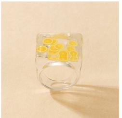 New Fashion Resin Lemon Inlaid Ring NHGY345112