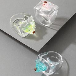 Transparenter weißer Harzquadratring des koreanischen Modestils NHGY345142