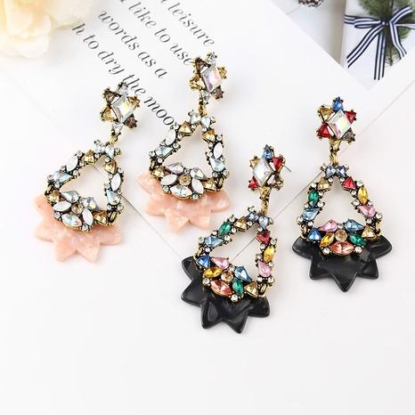 Pendientes largos de flor de diamante de aleación de moda al por mayor NHYAO346123's discount tags