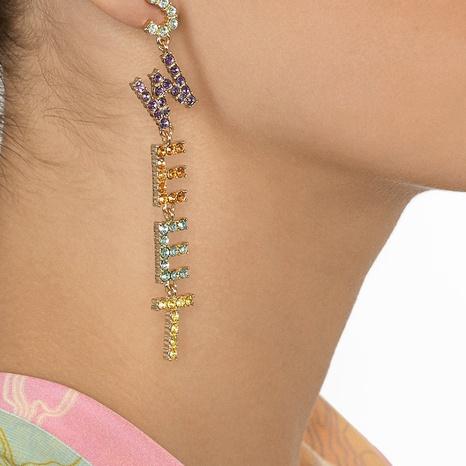 Pendientes de diamantes de aleación de borla de letras largas coreanas al por mayor NHYAO346129's discount tags