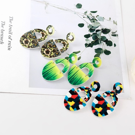 Korean splicing oval contrast color acrylic earrings wholesale  NHYAO346144's discount tags