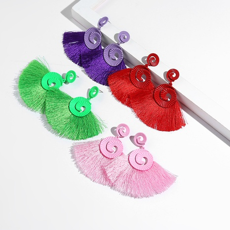 Al por mayor pendientes de borla de pintura en forma de abanico de moda NHYAO346147's discount tags