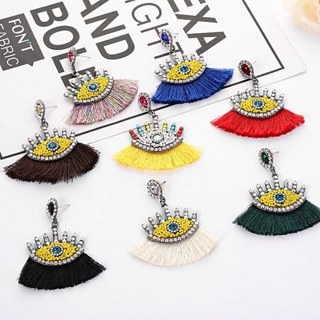 fashion new rice beads diamond tassel eyes earrings NHYAO346152's discount tags