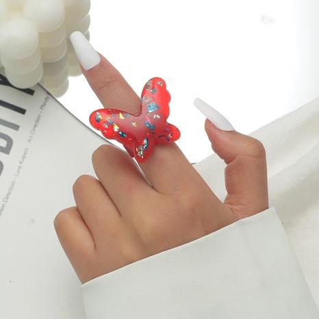 anillo de resina de mariposa de color retro NHKQ346195's discount tags