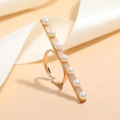 anillo ajustable de apertura de aleación de perlas con incrustaciones geométricas de moda NHKQ346206's discount tags