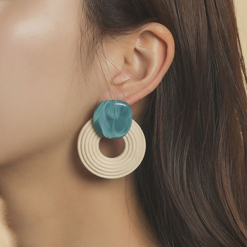 Bohemian geometric resin wooden round acrylic earrings NHLA346237