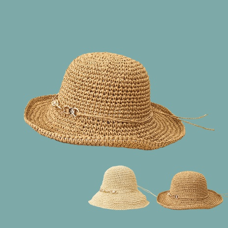 Fashion solid color sunshade sunscreen breathable handmade straw hats NHTQ346252's discount tags