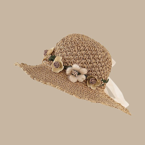 Korean khaki flower ruffled sunshade sunscreen breathable straw hat NHTQ346260's discount tags