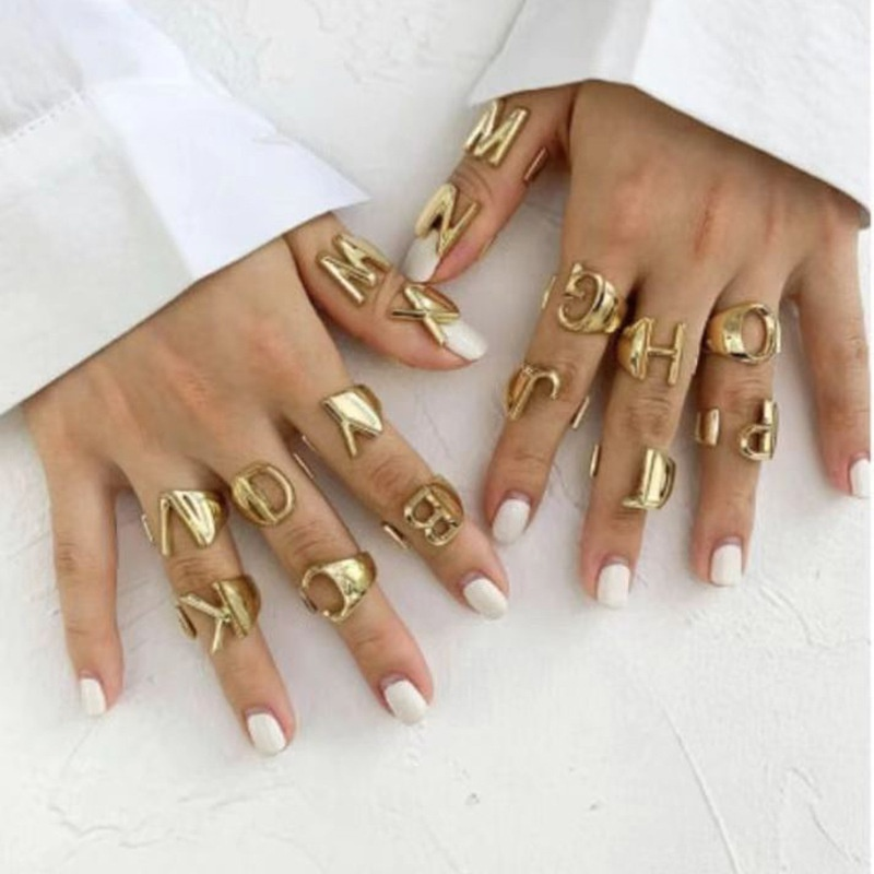 simple fashion style English letter ring  NHRN346268