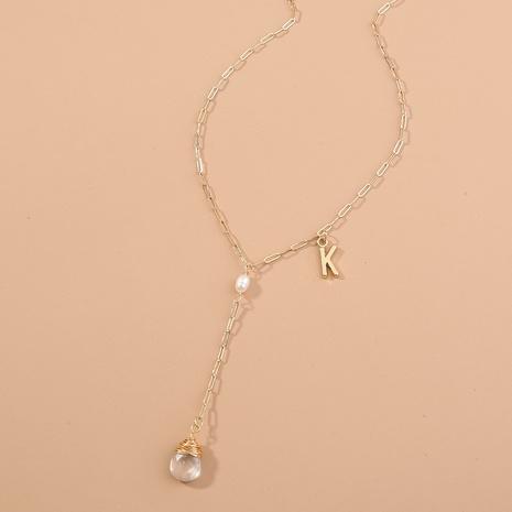 einfache Gitterkette Buchstaben Wassertropfen Naturstein hängende Halskette NHAN346293's discount tags