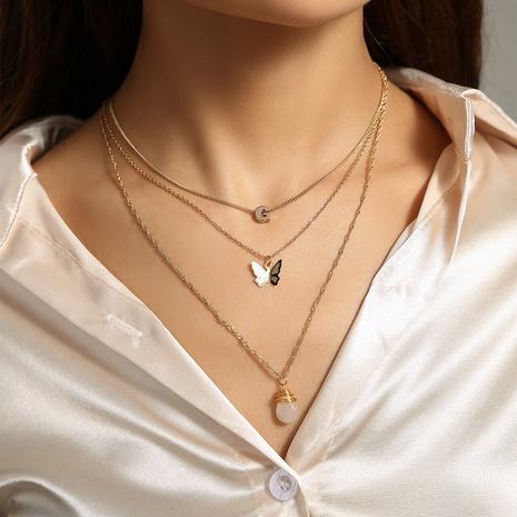 einfache transparente Wassertropfen Naturstein Anhänger mehrschichtige Halskette NHAN346297's discount tags