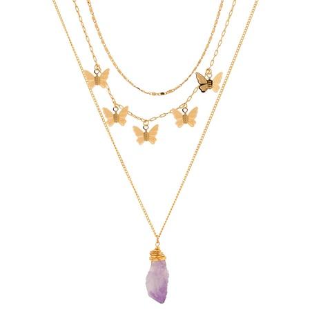Mode Handaufzug speziell geformte lila Naturstein mehrschichtige Halskette NHAN346299's discount tags