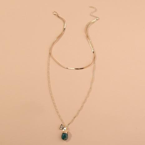 Mode handgemachte Schmetterling grün Naturstein Anhänger mehrschichtige Halskette NHAN346301's discount tags