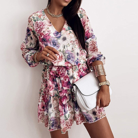 Summer women's casual printed v-neck floral short dress NHWA352736's discount tags