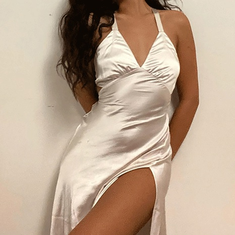Summer new sexy V-neck strap satin solid color dress NHWA352730's discount tags