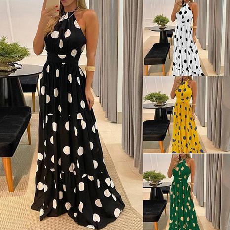 Ladies Summer Fashion Polka Dot Sleeveless Printed Big Plaid Dress NHWA352728's discount tags