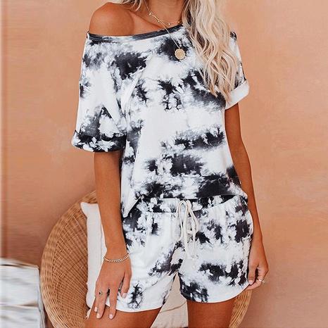 Women's summer tie-dye round neck T-shirt short set women NHWA352742's discount tags