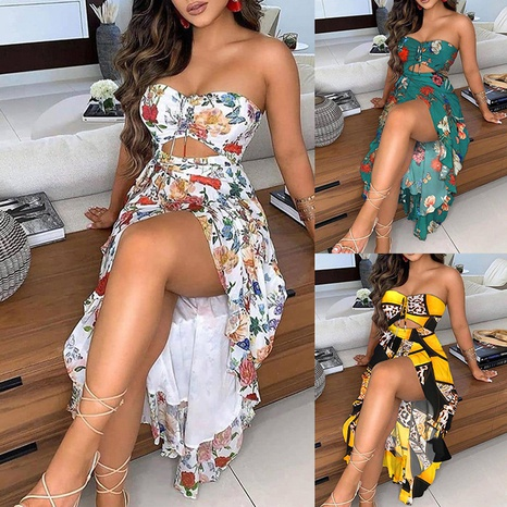 New sexy printed off-the-shoulder ruffled slit dress NHWA352743's discount tags